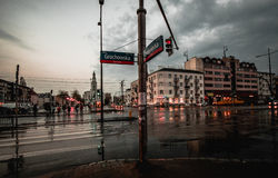 Crossroad in Warsaw. A crossroad in Warsaw with moving vehicles after heavy rain stock photography