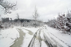 Crossroad in winter Stock Images