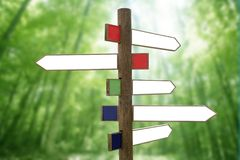 Crossroad Wooden Directional Arrow Signs Royalty Free Stock Photography