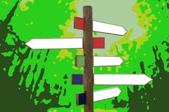 Crossroad wooden directional arrow signs. Copy space in green forest background Royalty Free Illustration