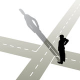 At the crossroads. Vector illustration of a man standing at a crossroads Stock Photos