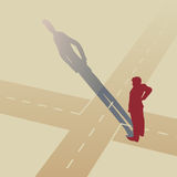 At the crossroads. Vector illustration of a man standing at a crossroads Royalty Free Stock Photography