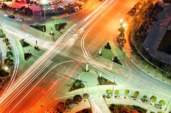 Crossroads. Night bird's eye view of the city crossroads stock photo