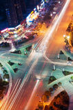 Crossroads. Night bird's eye view of the city crossroads royalty free stock images