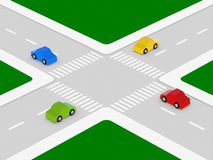 Crossroads. Four colored cars in the intersection Royalty Free Stock Photography