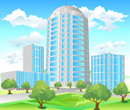 Crossroads. Area of city with high-altitude building and park, crossroads, illustration Stock Photography