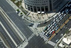 Crossroads. The top view on a crossroads in a city Stock Images