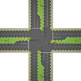 Crossroads from above view  on white. 3d rendering Royalty Free Stock Photography