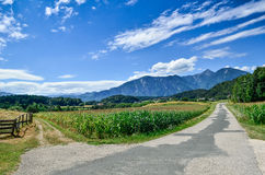 Crossroads in Alps Stock Photography