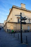 Crossroads in Bath, England. Signposts showing directions to various tourist destinations in the town of Bath, England Royalty Free Stock Photography