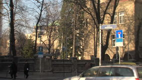 Crossroads in the center of Sofia, Bulgaria, winter stock footage