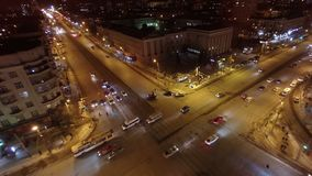 Crossroads in the city at night . Aerial shot. stock video