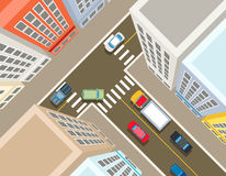Crossroads in the city top view Royalty Free Stock Photography