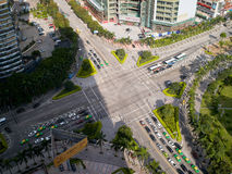 Crossroads of the city, Zhuhai China. Zhuhai, China - May 28, 2013: the crossroads of the city's main road of Gongbei yingbin road, photo taken from above Royalty Free Stock Image
