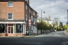 Crossroads with corner shop. Corner shop at the crossroads in the village of Wateringbury, Kent, UK royalty free stock photography