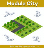 Crossroads Country highway. Urban module for the construction and design of large isometric city. Crossroads Country highway with a park with trees Stock Image