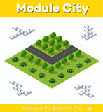 Crossroads Country highway. Urban module for the construction and design of large isometric city. Crossroads Country highway with a park with trees Royalty Free Stock Image