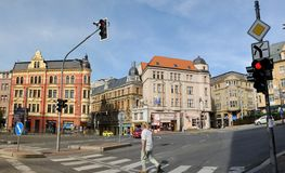 Crossroads in the Czech town Stock Photography