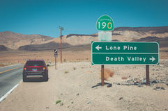 Crossroads in Death Valley National Park, California, USA stock images
