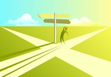 Crossroads of Decision. A Man standing at crossroads Stock Images