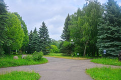 Crossroads in Dendrology garden in Pereslavl-Zalessky city Stock Photo