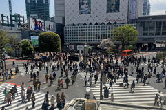 Crossroads with diagonal markings. TOKYO, JAPAN - APRIL 11, 2017: Crossroads with regular and diagonal markings on a busy street Royalty Free Stock Photo