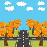Crossroads equivalent of roads in the future. Alley Autumn oaks illustration Royalty Free Stock Photos