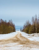 Crossroads forest roads. Crossroads forest roads, sprinkled with orange sand on a winter day stock photo