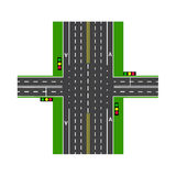 Crossroads. With the help of traffic lights. Road interchange. Lawns. View from above. illustration. Crossroads. With the help of traffic lights. Road Stock Photo