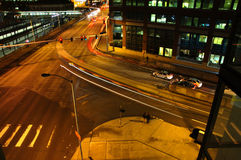 Crossroads at Night. Night view of crossroads in office district Royalty Free Stock Images