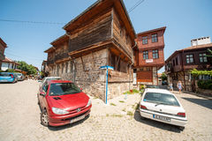 Crossroads in the old part of Sozopol in Bulgaria. Sozopol - ancient Bulgarian seaside town famous discoveries of ancient Slavic settlements. Located on the past Stock Image