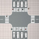 Crossroads with a pedestrian crossing. Top view Royalty Free Stock Photo