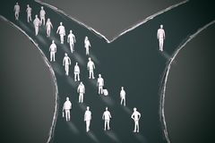 On the crossroads people choosing their pathway. With one person going in different direction. Taking a chance outlier probability statistics concept Royalty Free Stock Photo