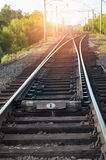 Crossroads railway. Against the backdrop of sunset stock photo