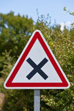 Crossroads road sign on a country road Royalty Free Stock Photography