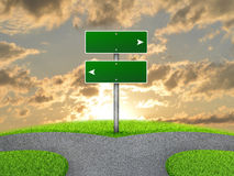 Crossroads road sign. Green grass, fork in the way and sky as backdrop Royalty Free Stock Photos