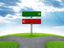 Crossroads road sign. Green grass, fork in the way and sky as backdrop Royalty Free Stock Images