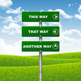 Crossroads road sign. Pointer indicates direction of three ways. Choice concept royalty free illustration
