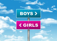 Crossroads road sign. Pointer to the right BOYS, but GIRLS left. Choice concept vector illustration