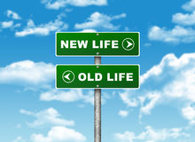 Crossroads road sign. Pointer to the right NEW LIFE, but OLD LIFE left. Choice concept vector illustration