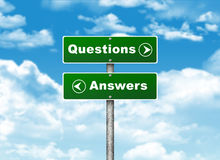 Crossroads road sign. Pointer to the right Questions, but Answers left. Choice concept stock illustration
