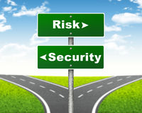 Crossroads road sign. Pointer to the right Risk, but Security left. Choice concept stock illustration