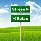 Crossroads road sign. Pointer to the right Stress, but Relax left. Choice concept stock illustration