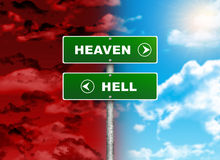 Crossroads road sign. Right color sky - HEAVEN, HELL left red. Choice concept royalty free illustration
