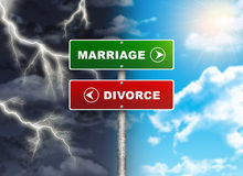Crossroads road sign. Right color sky - MARRIAGE, DIVORCE left thunder. Choice concept stock illustration