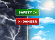 Crossroads road sign. Right color sky - SAFETY, DANGER left thunder. Choice concept vector illustration