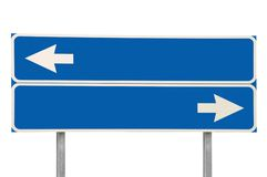 Crossroads Road Sign Two Arrow Blue Isolated Stock Image
