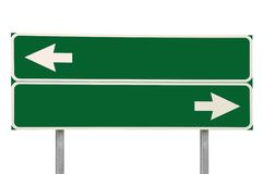 Crossroads Road Sign Two Arrow Green Isolated Royalty Free Stock Photos