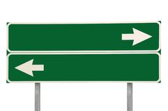Crossroads Road Sign Two Arrow Green Isolated Stock Photos