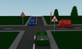 Crossroads with road signs and cars. 3d Rendering Royalty Free Stock Photos
